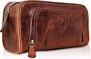 Corno d'Oro Neceser de piel grande para hombre y mujer, neceser CD500 de viaje para mujeres XL, bolso de tocador color marrón