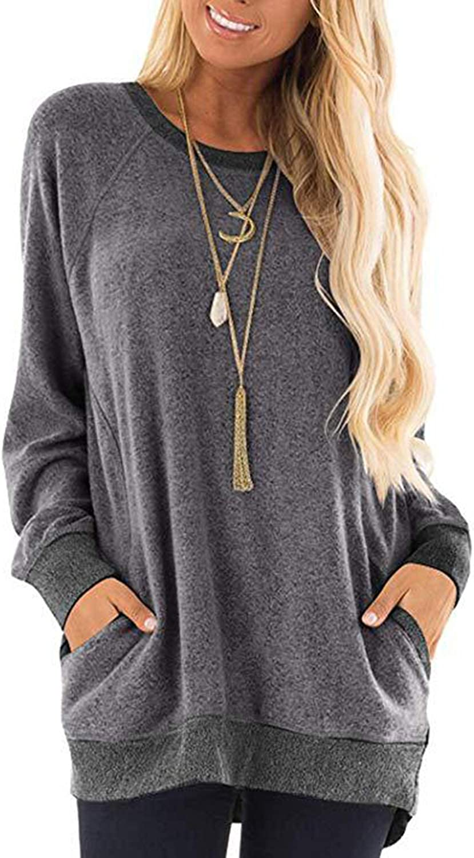 Beyove Womens Casual Color Block Long/Short Sleeve Pocket Lightweight Knit Sweatshirts T Shirts Round Neck Blouses Tops
