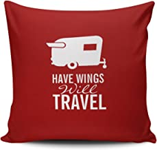 SALLEING Custom Fashion Home Decor Pillowcase Red and White Have Wings Will Travel - Shasta Camper Trailer Square Throw Pillow Cover Cushion Case 18x18 Inches One Sided Print