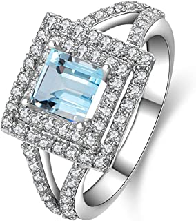 Ring for Women Fashion Sterling Silver Rings Princess Cut Blue Topaz and Square Cubic Zircons