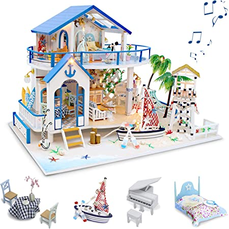 GuDoQi DIY Dollhouse Kit, Wooden Miniature Dollhouse with Furniture and Music, Tiny House Building Kit, DIY Model Kits to Build, Blue Sea Legend