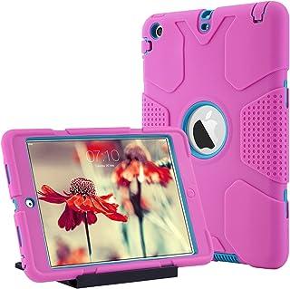 ULAK Caso del iPad Mini 1/2/3, iPad Mini 1/2/3 Funda 3in1 híbrido Cases de la Cubierta a Prueba de Golpes Deber Pata de Cabra Pesada para el iPad Mini/iPad Mini 2 / iPad Mini 3 (Rose roja + Azul)