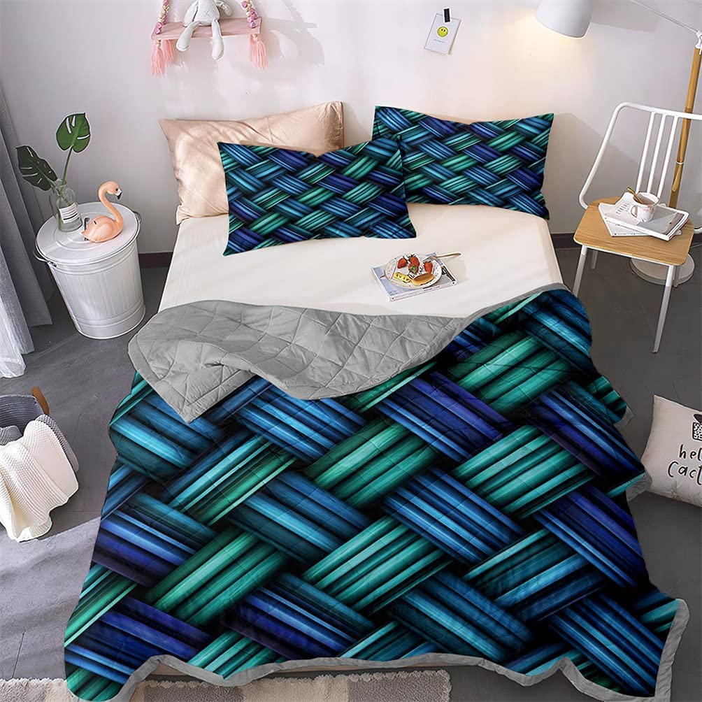 FOTM Woven Grain Staggered Lattice Our shop OFFers the best service mart Bedspread Printed Lines Quilt