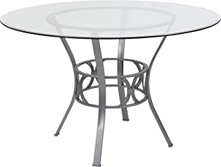 My Friendly Office MFO Adele Collection 48'' Round Glass Dining Table with Silver Metal Frame