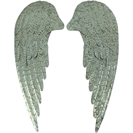 Amazon Com Toysdone Beautifully Distressed Gold Metal Angel Wings With Flower In Center Wall Home Decor 14 5 Home Kitchen