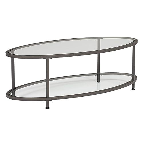 Oval Glass Coffee Table Amazon Com