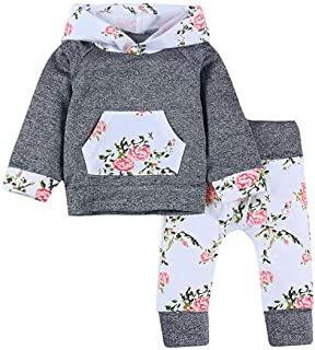 Baby Girls Floral Hoodie Outfit Long Sleeve Pocket Tops Flower Pants Clothes Set