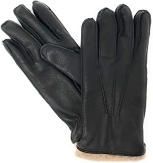 The Mens Store Bloomingdales Italian Leather and Cashmere Gloves; Dark Green Oatmeal Medium Touchscreen