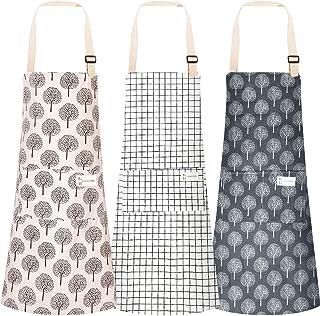 پیش بند آشپزخانه 3 عددی با جیب ، پیش بند آشپزخانه پیش بند آشپزخانه پارچه ای نخی قابل تنظیم برای مردان