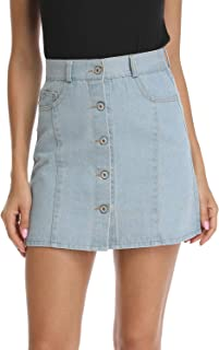 kefirlily Women's Button Front Denim A-Line High Waist Mini Short Skirt with 5 Pockets Light Wash and Dark Wash Blue