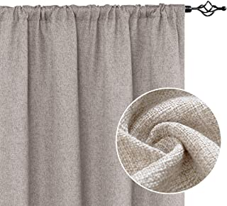 jinchan Linen Textured Curtains Tie Up Shade for Living Room Rod Pocket Burlap Light Filtering Window Treatment Set for Bedroom Flax Drapes 2 Panels 63