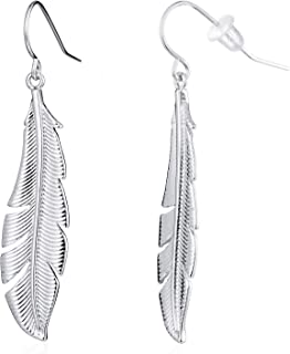 Antique Gold Silver Autumn Leaves Feather Drop Earring (SIL)