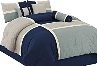 Chezmoi Collection 7-Piece Quilted Patchwork Duvet Cover Set, Queen, Blue/Gray