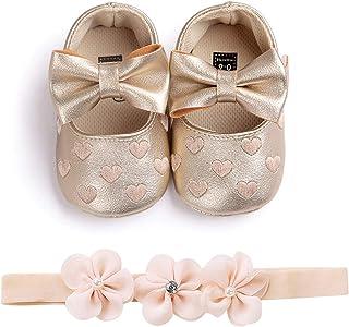 Carolilly Zapatos de bebé con impresión de amor y lazo, para niña, bautizo, zapatos y diadema de flores, juego de 0 – 18 m...