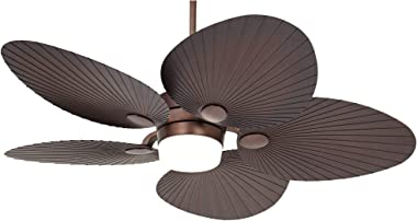 """52"""" Casa Breeze Tropical Outdoor Ceiling Fan with Light LED Remote Control Oil Brushed Bronze Palm Leaf Damp Rated for Patio Porch - Casa Vieja"""