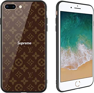 Fashion Brand 236 Design, Tempered Glass Case for iPhone7 Plus and iPhone8 Plus, Soft Silicone Bumper Anti-Scratch Ultra-Thin, iPhone7 Plus and iPhone8 Plus Phone Cover for Girls, Teens, Women