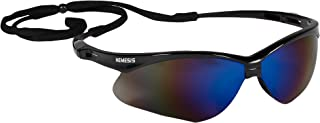KLEENGUARD V30 Nemesis Safety Glasses (14481), Blue Mirror Lenses with Black Frame, Pack of 12 pairs