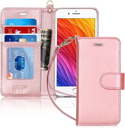 FYY Case for iPhone 8 Plus/iPhone 7 Plus,[Kickstand Feature] Luxury PU Leather Wallet Case Flip Folio Cover with [Car...