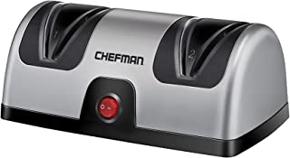 Chefman Electric Knife Sharpener, 2 Stage Diamond Coated Sharpening Blades, To Sharpen Kitchen, Chef, Paring, Pocket and Steel Knives, Better than Sharpening Stone, Silver/Black