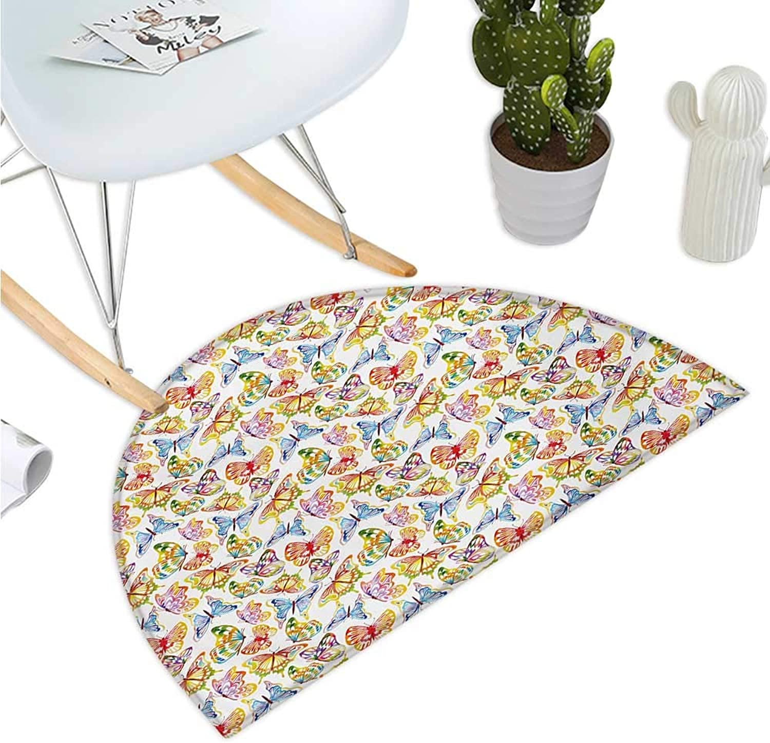 Butterfly Semicircular Cushion Vibrant Animals Psychedelic Sixties Inspired color Palette Nature Illustration Entry Door Mat H 39.3  xD 59  Multicolor