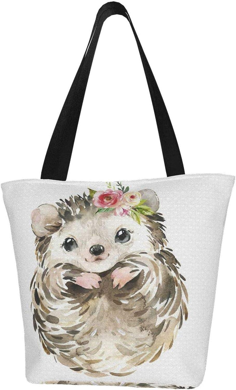 Cute Animal Brown Baby Hedgehog Flower Themed Printed Women Canvas Handbag Zipper Shoulder Bag Work Booksbag Tote Purse Leisure Hobo Bag For Shopping