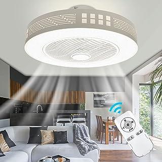 LED Fan Plafonnier Moderne Nordique Dimmable Ventilateur Au Plafond avec Lampe Ultra-Mince Invisible 45W Lustre De Ventila...