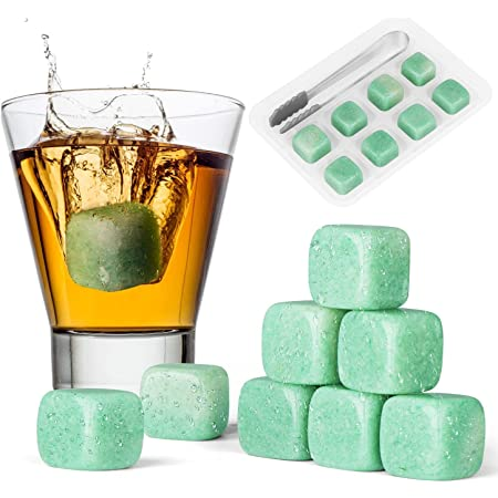 Livond Whiskey Stones - Reusable Ice Cubes for Cooling Rum, Beer, Wine, Iced Tea, Water -Ice Cubes with Ice Tray and Tongs - Drinking Gift for Dad, Husband, Grandpa, Friends, Family - Pack of 8