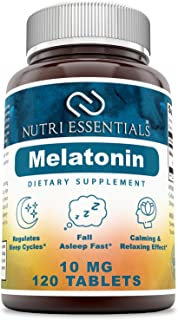 Nutri Essentials Melatonin 10 Mg 120 Tablets -Promotes Restful, All-Night Sleep - Helps Reduce Anxiety and Stress