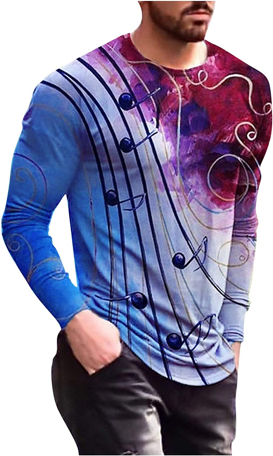 Men Spring Long Sleeve Shirts Fashion Printed Fitness Shirts Casual Round Neck Tops for Men Holiday Beach Shirts