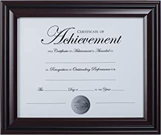 Dax 8.5x11 Classic Rosewood and Black Document Frame, Wall or Table Top Display