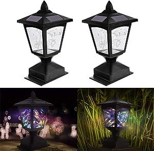 Solar Post Lights Outdoor, Solar Lamp Post Light for Fence Deck Patio, BUNEE LED Waterproof Solar Pillar Lights LED Gate Lantern Light for 4x4 Wood Posts Garden Pathway, 2 Pack (Multi-Colored)