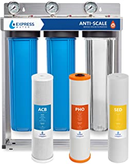 """Express Water Whole House Water Filter – 3 Stage Anti Scale Home Water Filtration System – Sediment, Phosphate, Carbon Filters – includes Pressure Gauges, Easy Release, and 1"""" Inch Connections"""