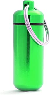 Pillendoos, pil box, aluminium capsule, sleutelhanger mini, waterdicht, kleur: groen, hoogte: 45mm