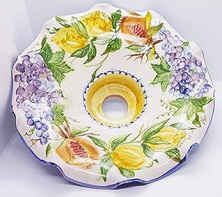Lampadario Linea Frutti Misti Ceramica Le Ceramiche del Castello Pezzo Unico Handmade 100% Made in Italy
