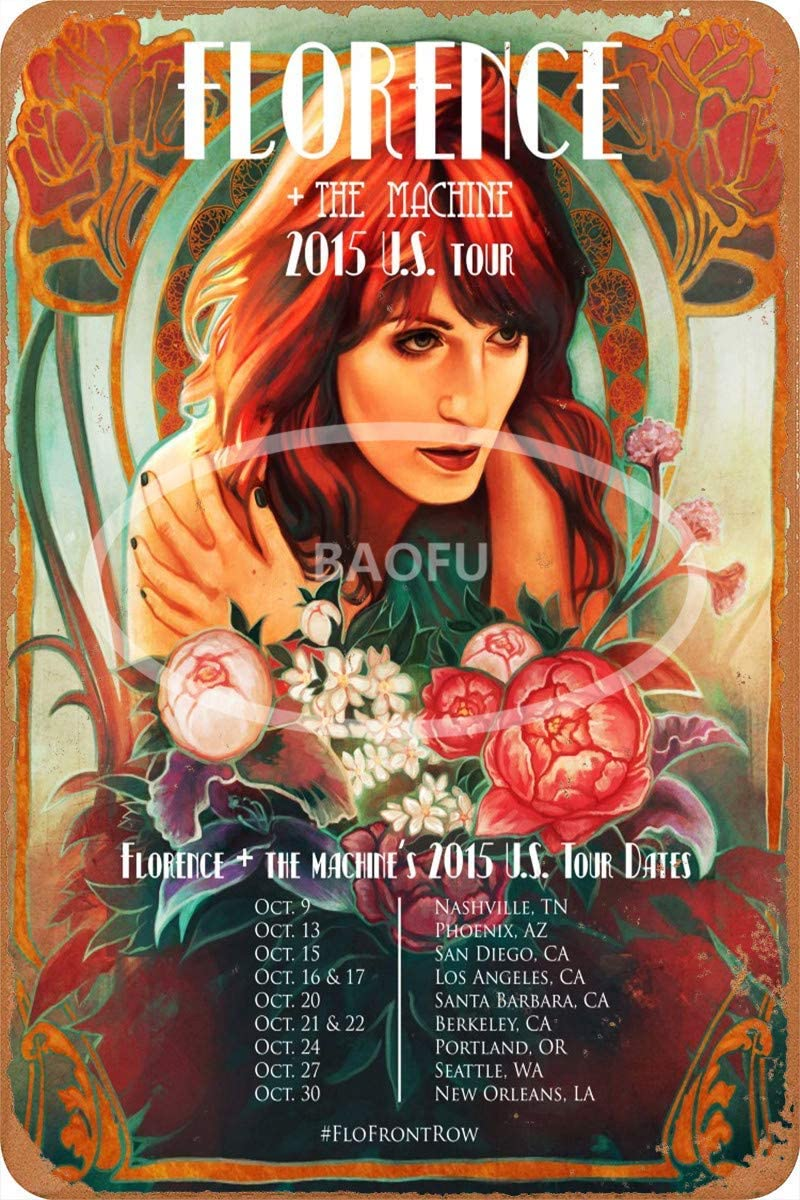 Keviewly Florence and The Machine Iron Painting Wall Poster Metal Vintage Band Tin Signs Retro Garage Plaque Decorative Living Room Garden Bedroom Office Hotel Cafe Bar