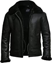 BRANDSLOCK Mens Aviator Real Shearling Sheepskin Leather Bomber Flying Jacket