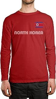 SpiritForged Apparel North Korea Soccer Jersey Men's Long Sleeve Shirt