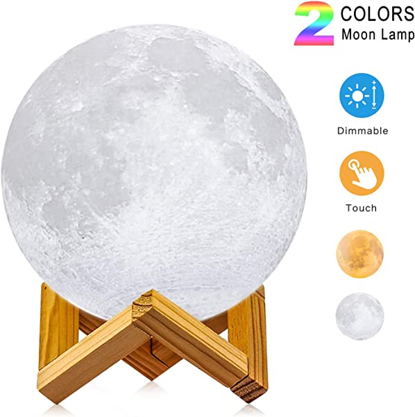 Moon Lamp LOGROTATE Diameter 4 7 Inch 3D Printing LED Night Light Lunar Moon Light With Stand And Warm Cool Two Colors And Dimmable USB Rechargeable For Kids Lover Birthday Day Gifts