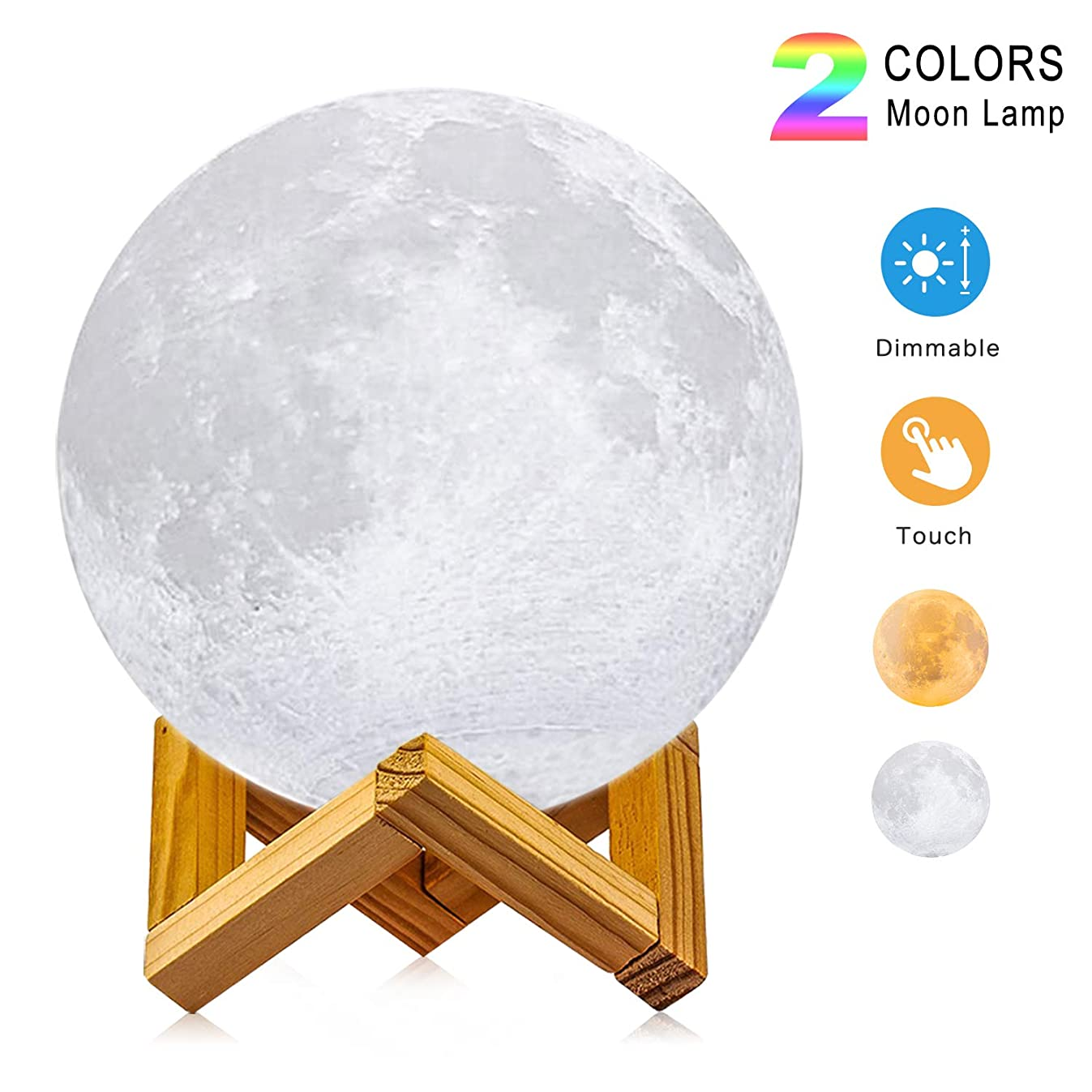 Moon Lamp, 3D Printing LED Night Light Lunar Moon Light with Stand and Warm & Cool Two Colors and Dimmable & USB Rechargeable for Baby Kids Lover Birthday Fathers Day Gifts(Diameter 4.7 inch)