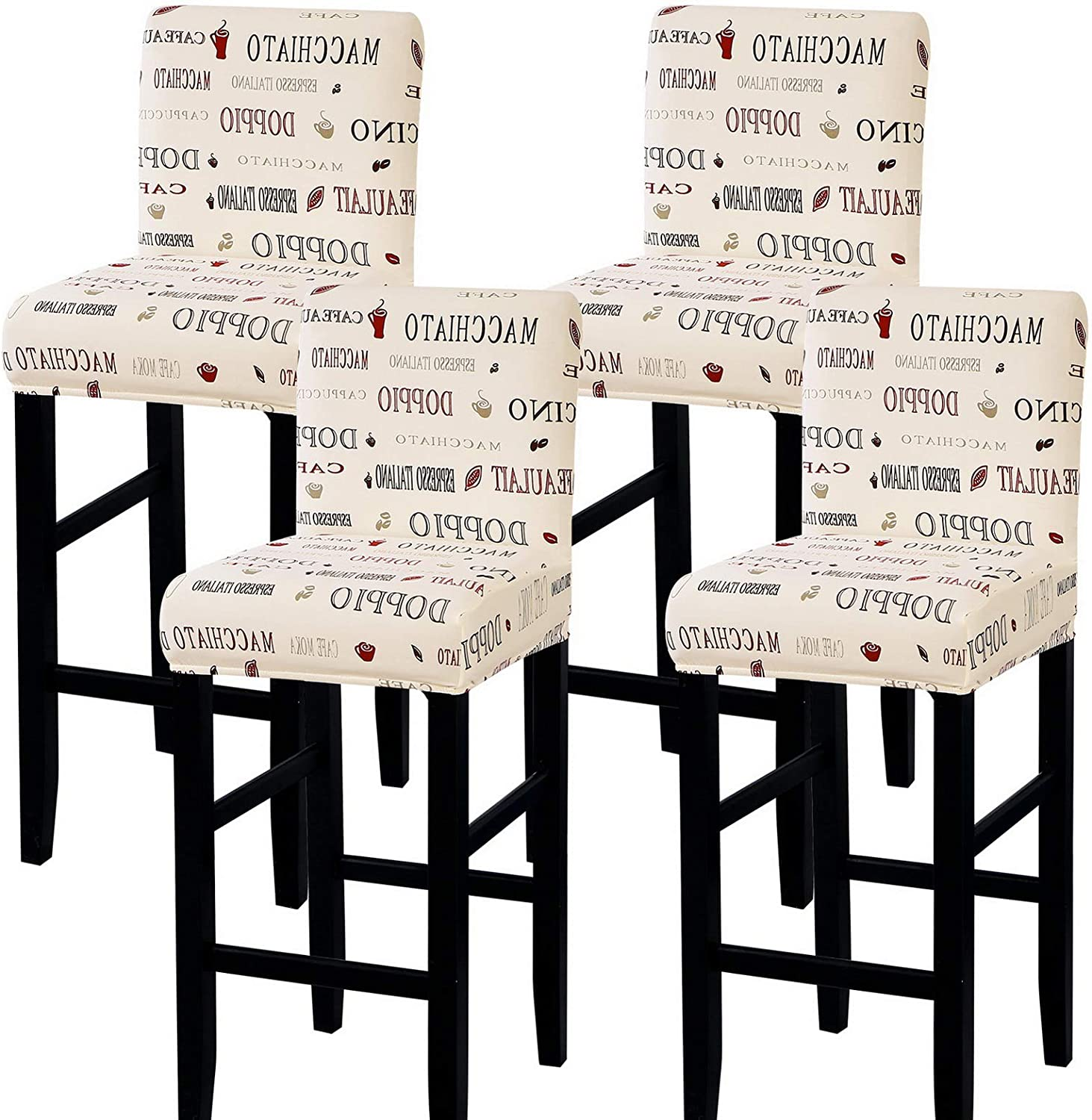 SearchI Stretch Bar Stool Covers, Stretch Removable Washable Printed Bar Stool Chair Covers, Counter Height Chairs Covers for Kitchen Dining Room Cafe Furniture