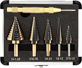 COMOWARE Step Drill Bit Set & Automatic Center Punch- Black and Gold, Double Cutting Blades, High Speed Steel, Short Length Drill Bits Set of 5 pcs, Total 50 Sizes with Aluminum Case