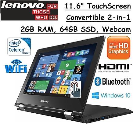 "2017 Lenovo 2-in-1 Convertible 11.6"" HD Touchscreen Laptop Intel Dual-Core Processor 2GB RAM 64GB SSD Intel HD Graphics 400 802.11ac WIFI Webcam HDMI Bluetooth Windows 10- Black"