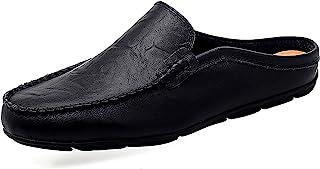 دمپایی چرمی مردانه مشکی تور تور لغزش چرمی منگنه تنفسی روی کفش های گاه به گاه کفش راحتی