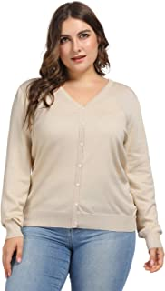 Hanna Nikole Women Plus Size V-Neck Button Down Soft Knit Cardigan Sweater