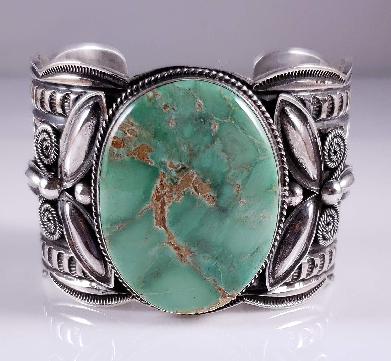 100% quality High order warranty Navajo Sterling Silver Rare Australian Variscite Cuff B Bracelet