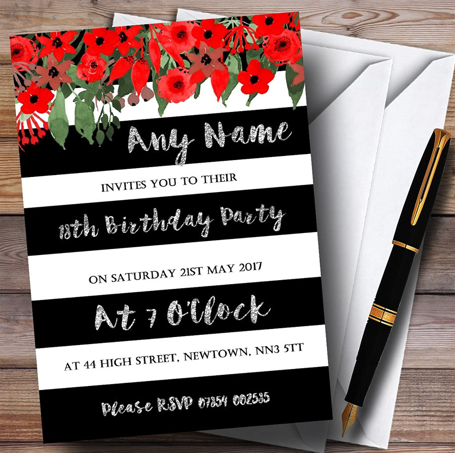 Red Floral Black White Silver 18th Personalised Birthday Party Invitations