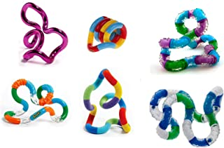Set of 6 Assorted Loose Packed Tangle Jr. Fidget Toys Fuzzy Metallic Textured Original Relax and Therapy