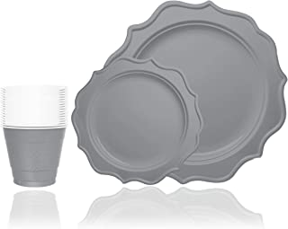 Tiger Chef 144-Pack Silver Color Round Scalloped Rim Disposable Plastic Plate Set for 48 Guests Includes 48 10-Inch Dinner Plates, 48 8-Inch Salad Plates - BPA-Free