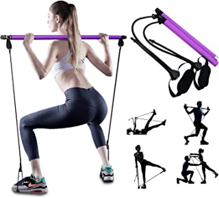 PLEASION Adjustable Pilates Bar Kit with Resistance Band for Women, Portable Workout Equipment Home Gym Pilates Exercise S...
