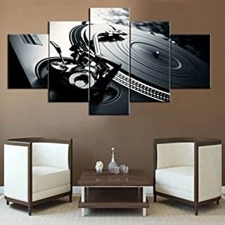 Black and White Music Pictures Wall Art for Living Room DJ Scratching Mixing Paintings5 Piece Canvas Modern Artwork Home Decor for Living Room,Wooden Frame Gallery-wrapped Ready to Hang(60''Wx32''H)